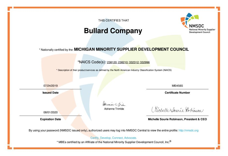 Bullard Company Certified as MBE by MNSDC